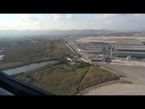Taxi and Take-off from Barcelona El Prat Airport, Catalonia, Spain - 17th October, 2017.