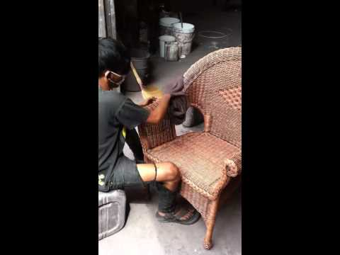 Washing rattan furniture process