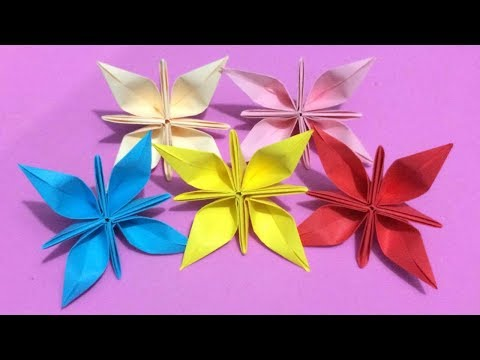 How to Make Origami Flower with Color Paper | DIY Paper Flowers Making