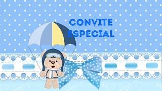 Convite Animado Urso Aviador Pronto Para Baixar E Editar
