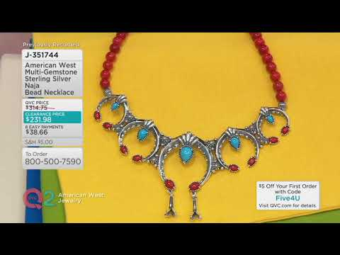 American West Multi Gemstone Sterling Silver Naja Bead Necklace on QVC