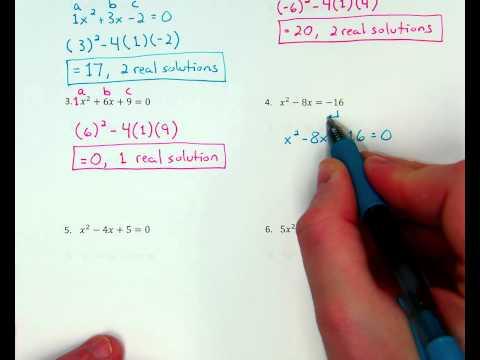 Quadratics - Discriminant w/ 1 real solution