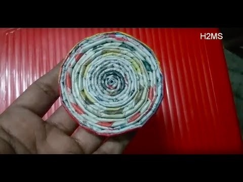 how to make simple Newspaper coaster,recycling ideas,easy craft, hand made coasters,hand made craft
