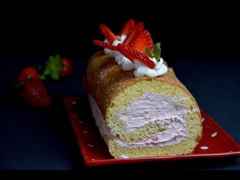 Swiss Roll with Strawberry Cream (gluten free)