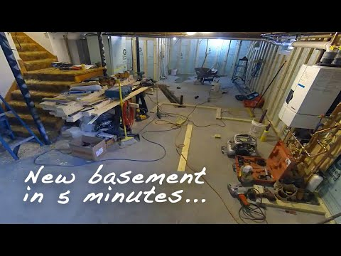 FINISHING A BASEMENT in 5 MINUTES - Time Lapse Construction