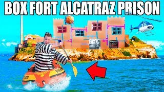 24 HOUR FLOATING BOX FORT PRISON ESCAPE!! 📦👮🏻 Escaping Alcatraz