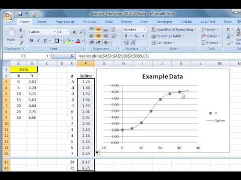 Using the Flexible Spline function (FlexSpline) in Excel