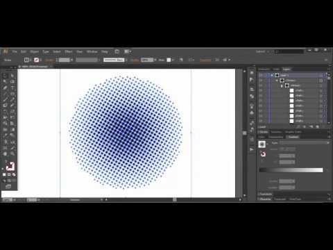 Halftone effect, dot pattern  - Adobe Illustrator cs6 tutorial. Creating editable halftone circle.