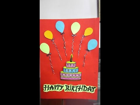 How to make easy birthday card/easy cake drawing for kids
