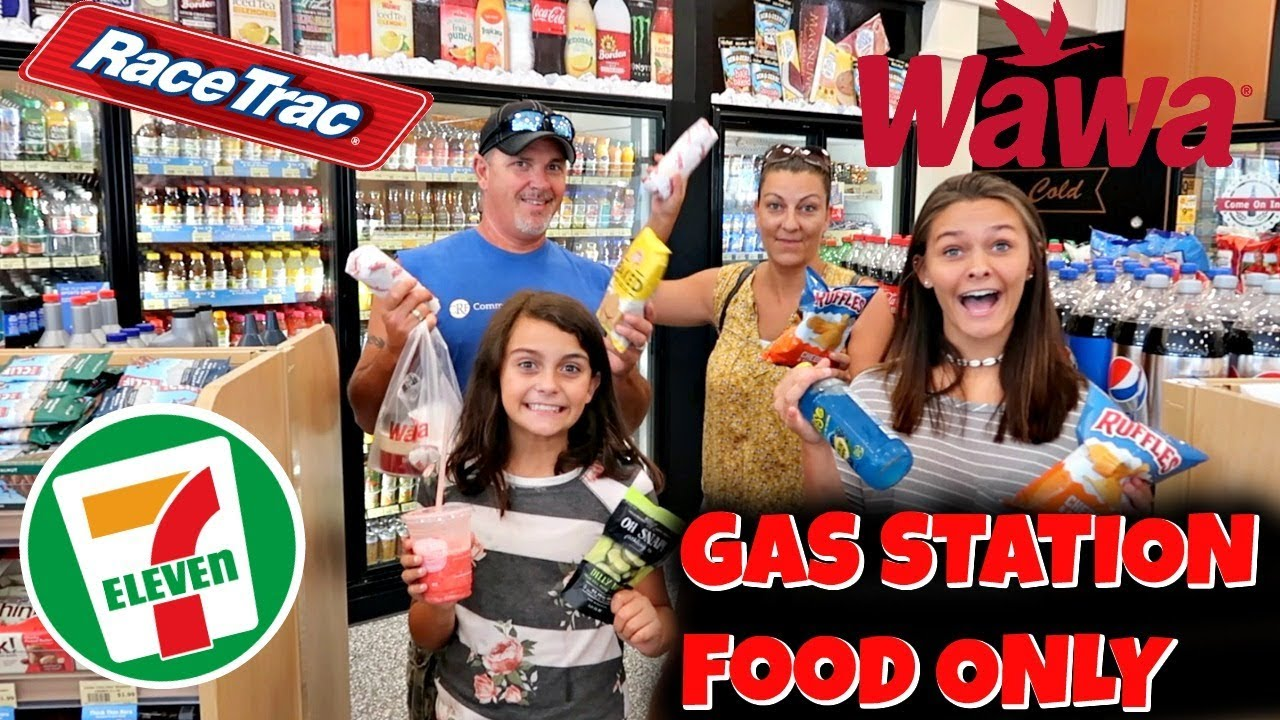 We ATE Only GAS STATION Food For 24 HOURS! HARDEST CHALLENGE | Emma and Ellie