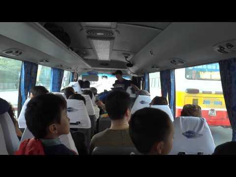 Bus trip to Halong Bay, from Hanoi, Vietnam.