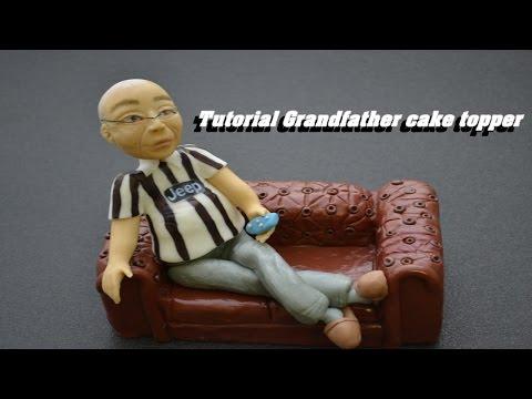 Tutorial Grandfather cake topper sugarpaste - nonno tifoso juve pasta di zucchero torta