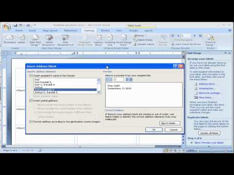 How to create Labels using Mail Merge in Microsoft Word 2007