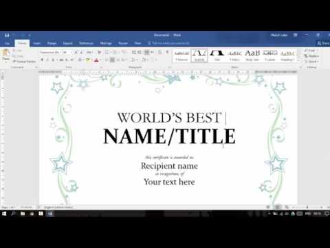 How To Create Certificate by Microsoft Office Word Very Simple