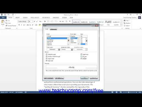 Word 2013 Tutorial The Font Dialog Box Microsoft Training Lesson 5.2