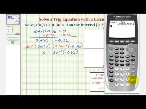 Ex: Solve a Trigonometric Equation Using a Calculator (sin(x)=-0.36)