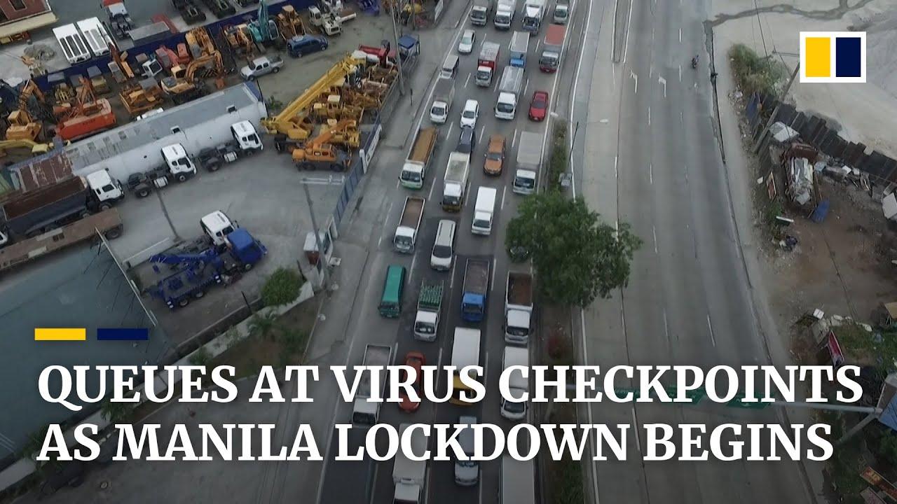 Long queues at coronavirus checkpoints as Philippine capital Manila starts month-long lockdown