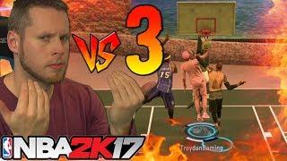 1 vs 3 NBA 2K17 CHALLENGE! DRAG WAGER MYPARK!