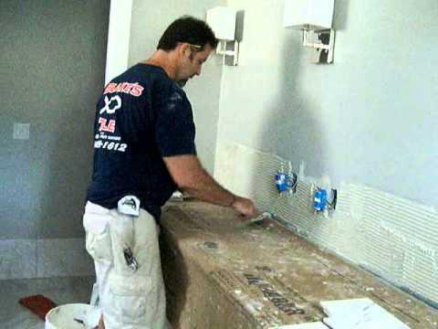 How to Install MarbleTile Backsplash on a vanity in bathroom by TilingInfo part 1