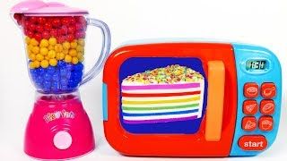 Squishy Rainbow Cake and Microwave Playset for Kids Learn Colors with Play Doh for Children