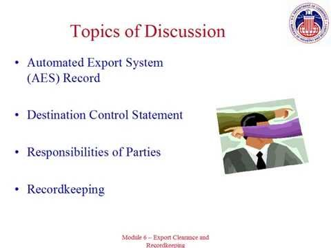 6. Export Clearance and Recordkeeping