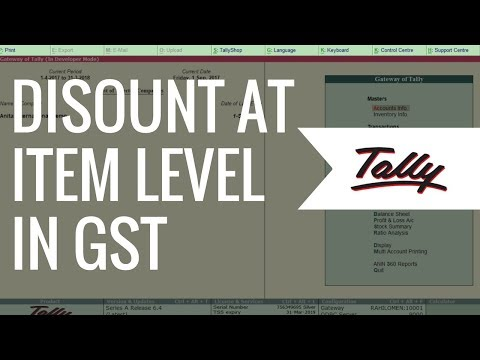 Discount at Item Level in Tally | Tally ERP 9 Tutorials for GST