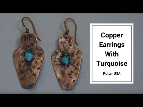 Copper Earrings With Turquoise