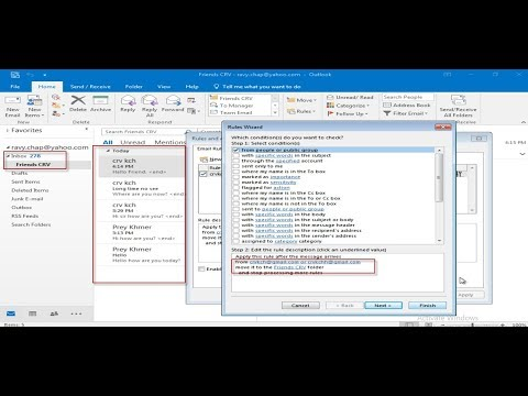 Create rule in Outlook email application