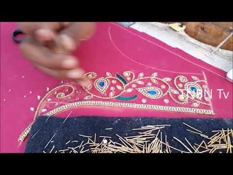 simple maggam work tutorial | hand embroidery stitches | back neck blouse designs | Arts and Crafts