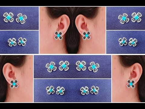 How To Make Quilling Stud Earrings Tutorial / Paper Quilling Earrings / Design 28