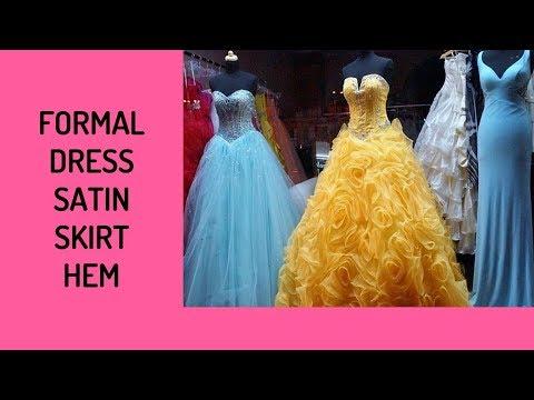Formal Dress Satin Skirt Hem