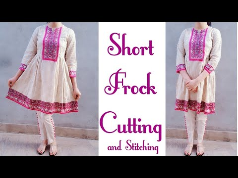 Designer Short frock cutting and stitching with box plates