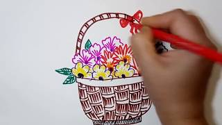 Step By Step Flower Basket Drawing Easy