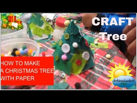How to make a Christmas tree with paper plate cone!!