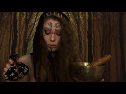 ASMR Forest SHAMAN Saves Your Life | Medicine Making, Crystal Healing, Tibetan Singing Bowl