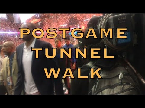 Postgame tunnel walk incl Iguodala, Steph Curry, Klay, Draymond, from Houston after 2018 WCF G5