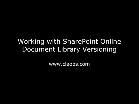 Working with SharePoint On-line Document Library Versioning