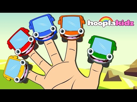 Learn Colors with Wheels on the Bus Finger Family Song | Kids Songs Collection by HooplaKidz EP 03