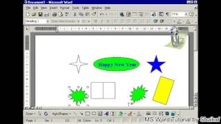 insert color into ractangle and oval shapes in MS word tutorial by Shaikof