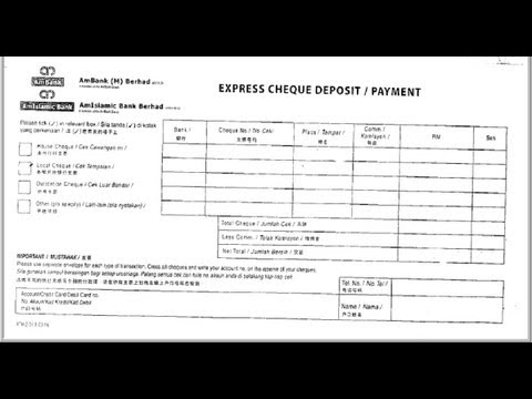 MY-How to fill Cheque Deposit slip of Ambank