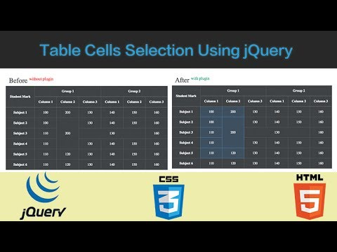 Table Cells Selection Using jQuery Plugin | Tutorial