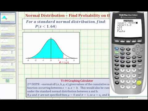 Ex 1:  Find the Probability of a Z-score Being Less Than a Given Value on a Newer TI84