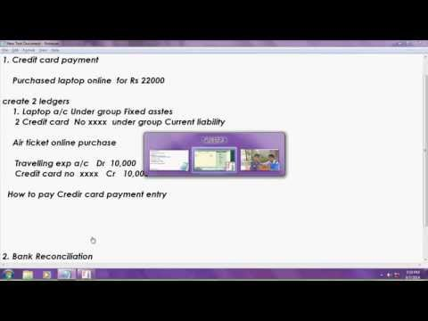 Automated bank reconciliation and credit card payment in tally