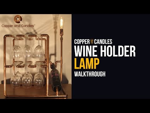 Copper Wine Bottle Holder Lamp How to Industrial Wine Glass Holder Steampunk style DIY Wine Rack
