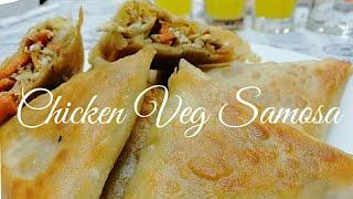 സമോസ  ഒരു തവണ  ഇങ്ങനെ ഉണ്ടാക്കി നോക്കു -ചിക്കൻ വെജ്  സമോസ /Chicken Veg Samosa-Easy malabar snacks