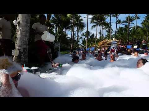 Foam party at the Majestic resort in Punta Cana