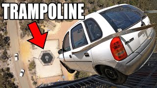 CAR vs. WORLD'S STRONGEST TRAMPOLINE- 150ft (45m) drop