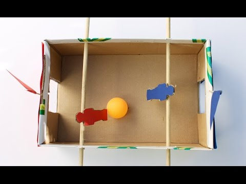 Easy craft: How to make a shoebox foosball game