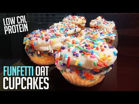 Low Cal Funfetti Protein Oatmeal Cupcakes Recipe | 4 Minute Tutorial