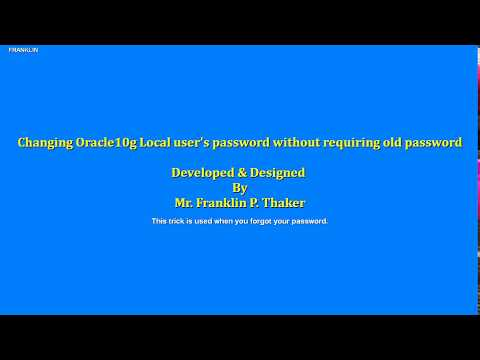 How to Change Oracle10g Password